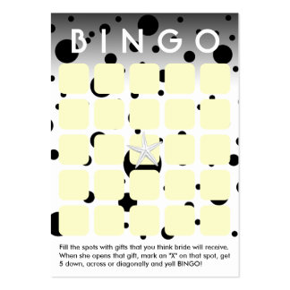O preto moderno pontilha o cartão do Bingo do chá Modelos Cartões De Visitas