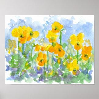 O primavera amarelo da aguarela dos Pansies Pôster