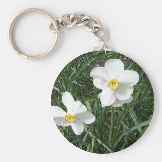 O primavera branco bonito floresce CricketDiane Chaveiro