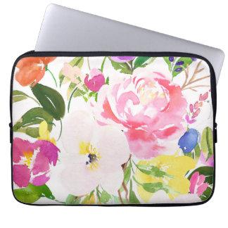 O primavera colorido da aguarela floresce floral capa para computador