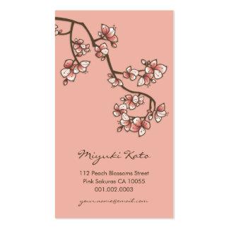 O primavera cor-de-rosa de Sakura das flores de Modelos Cartão De Visita