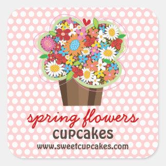 O primavera doce lunático do cupcake floresce o adesivo quadrado