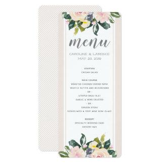 O primavera floral cora cartão Wedding do menu de