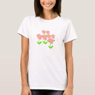 O primavera floresce flores cor-de-rosa e verdes camiseta