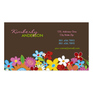 O primavera lunático doce floresce o jardim colori modelo cartoes de visita