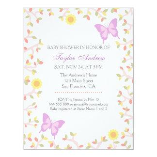 O primavera Pastel elegante sae do chá de fraldas Convite 10.79 X 13.97cm