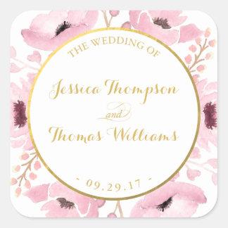 O primavera pica a coleção floral do casamento da adesivo quadrado