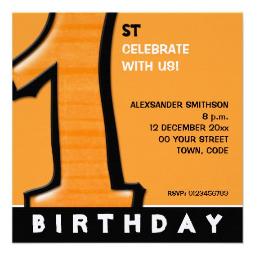 O primeiro aniversario alaranjado do número 1 parv convite personalizados