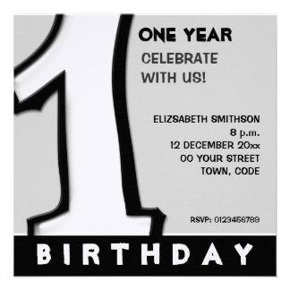 O primeiro aniversario branco do número 1 parvo co convite personalizados