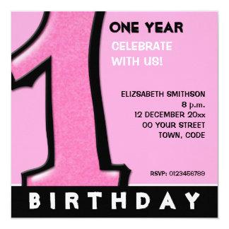 O primeiro aniversario cor-de-rosa do número 1 convite personalizados