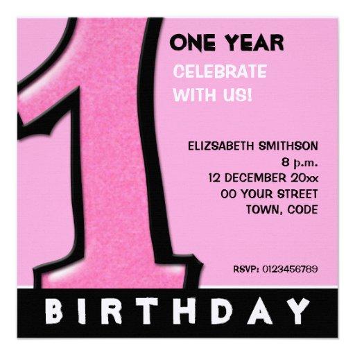 O primeiro aniversario cor-de-rosa do número 1 par convite personalizados