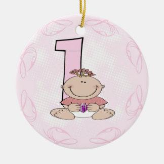 O primeiro aniversário da menina ornamento de cerâmica redondo