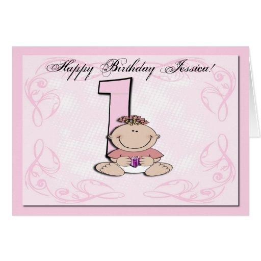 O primeiro aniversário do bebê cartão