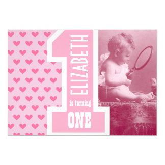 O primeiro aniversário do bebê da menina adiciona convite 12.7 x 17.78cm