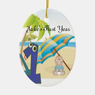 O primeiro aniversário do bebé ornamento de cerâmica oval