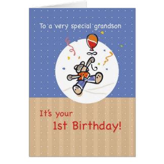 O primeiro aniversário do neto com urso e balão cartao