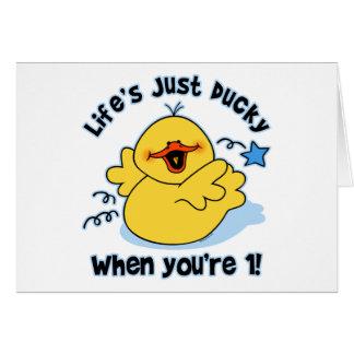 O primeiro aniversario Ducky da vida Cartões