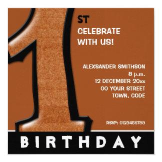 O primeiro aniversario parvo do chocolate do convite personalizado