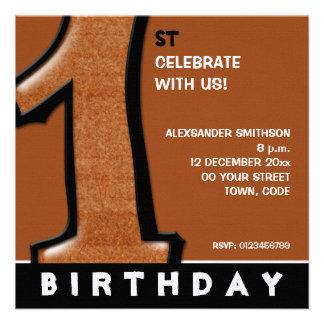 O primeiro aniversario parvo do chocolate do númer convite personalizado
