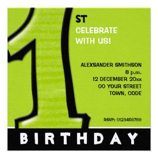 O primeiro aniversario verde do número 1 parvo con convites