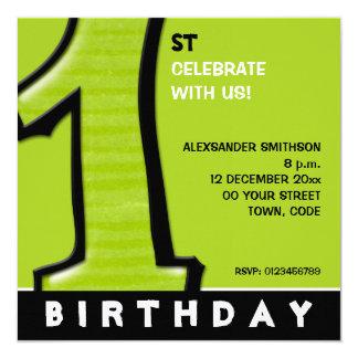 O primeiro aniversario verde do número 1 parvo convites