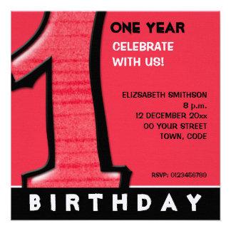 O primeiro aniversario vermelho do número 1 parvo  convites