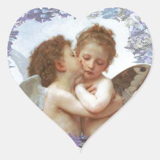 O PRIMEIRO BEIJO, C.1873 William Bourgeau Adesivo Coração