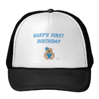 O primeiro Birthd do bebê parvo azul bonito do cha Boné