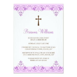 O primeiro comunhão do damasco violeta elegante do convite 12.7 x 17.78cm