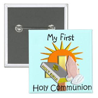 O primeiro comunhão santamente caçoa presentes bóton quadrado 5.08cm