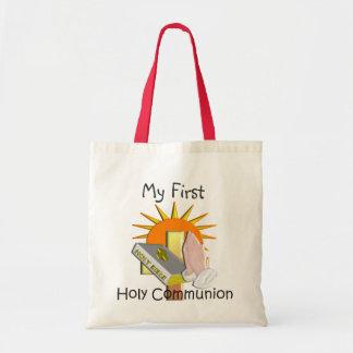 O primeiro comunhão santamente caçoa presentes sacola tote budget