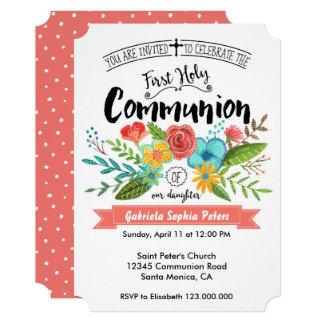O primeiro comunhão santamente floresce convites