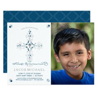 O primeiro menino do convite da foto do comunhão