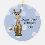 O primeiro Natal do bebê bonito do girafa Enfeite De Natal