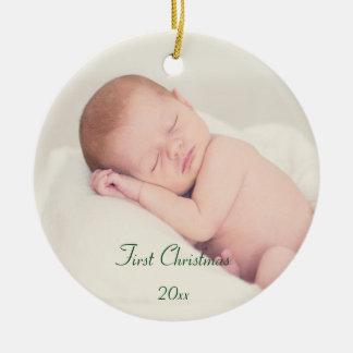 O primeiro Natal do bebê Ornamento De Cerâmica Redondo