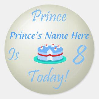 O príncipe (seu nome) é oito hoje adesivo