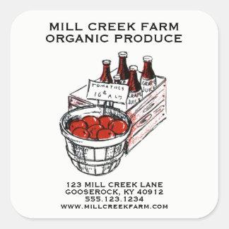 O produto do mercado dos fazendeiros etiqueta
