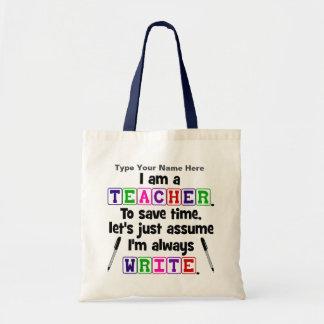 O professor é escreve sempre - personalize a bolsa para compra
