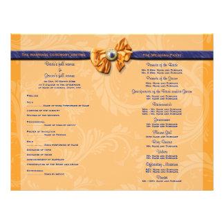 O programa alaranjado azul do casamento PERSONALIZ Panfleto Personalizado