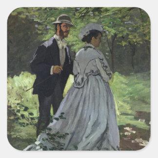 O Promenaders, ou Bazille e Camilo, 1865 Adesivo Quadrado