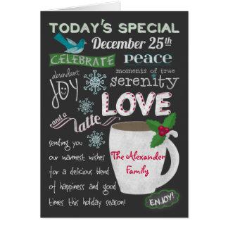 O quadro da cafetaria do Natal adiciona seus nomes Cartão Comemorativo