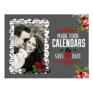 O quadro e a foto dos rosas salvar a data cartão postal