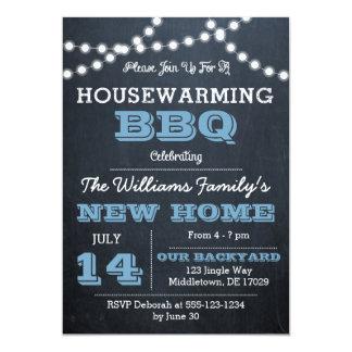 O quadro ilumina convites azuis do Housewarming