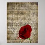 O redemoinho bonito das notas da música da rosa ve posteres