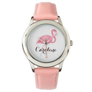 O relógio da menina cor-de-rosa do flamingo