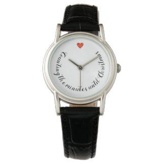 O relógio de couro preto clássico da contagem