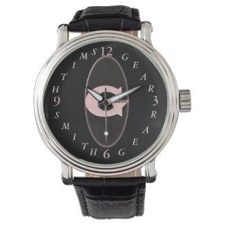 O relógio de couro preto de homens de banda