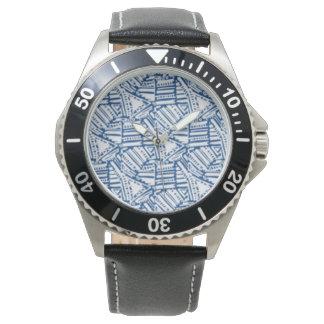 O relógio dos homens com design branco preto da