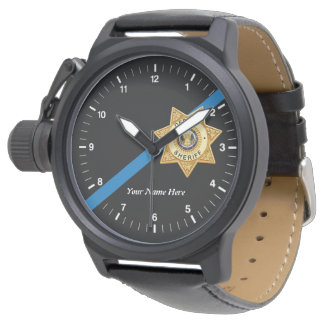 O relógio fino do deputado xerife de Blue Line