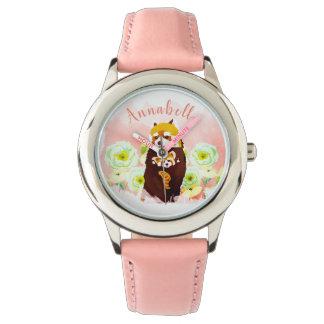O relógio floral do miúdo cor-de-rosa